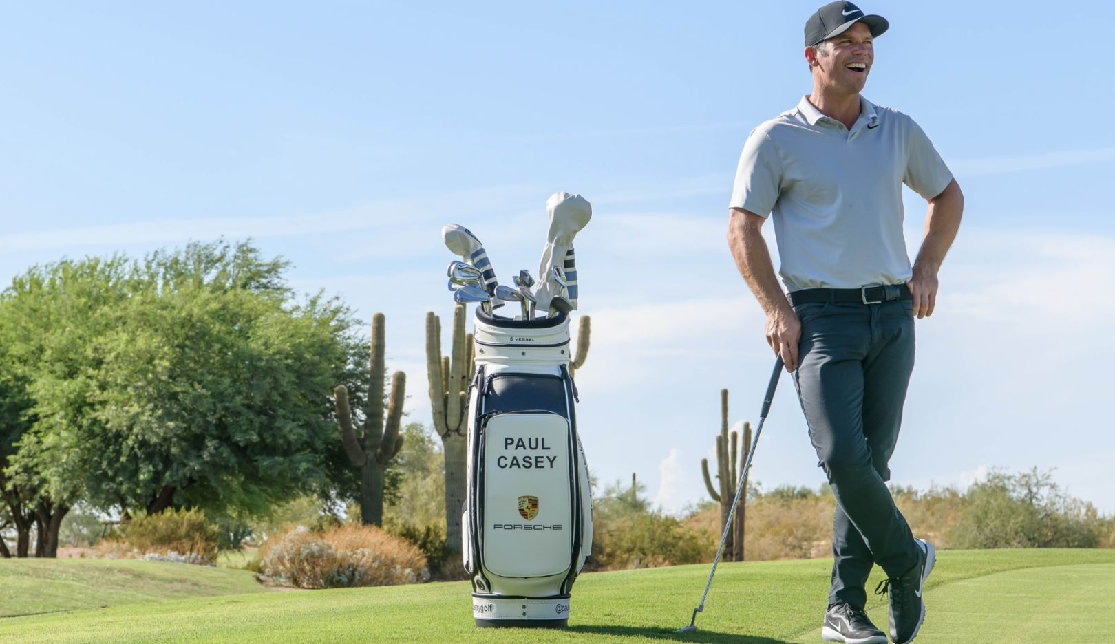 A man and his bag: Englishman Paul Casey playing on the North American PGA Tour. He has been a professional golfer for the past twenty years.
