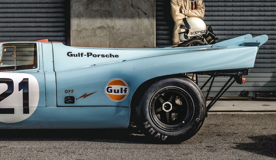 "Composed: One of his favorite pictures—a Porsche 917 that Lotterer photographed at the Rennsport Reunion in California. ""Everything came together: light, background, mood."""